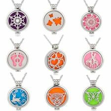 5 dics Vintage Essential Aromatherapy Locket Oils Diffuser Necklace Family Gift