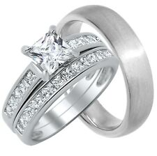 His & Hers Engagement Ring Wedding Band 3pc Bridal Set Sterling Silver Men Women