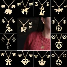 Gold Stainless Steel Elephant Cat Horse Earrings Necklace Jewelry Set Women Gift