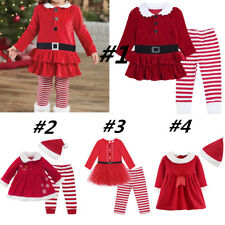 Girls Baby Xmas Clothes Outfit Kids Mrs Santa Claus Top Dress with Striped Pants