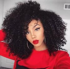 7Pcs100g Clip in Human Hair Extensions Black Afro Curl for Africa American Women