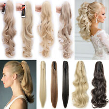 Lady High Ponytail Claw Jaw Clip in Pony Tail Hair Extensions Straight Wavy P96