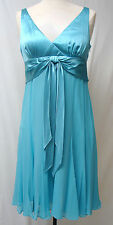 MAGGY LONDON PETITES Silk Chiffon Dress-Aqua or Champagne-Petite 8-NWT