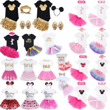 New Baby Girls First Birthday Dress Outfit Tutu Skirt Headband Minnie Cake Smash