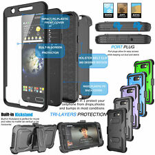 Clip Holster Armor Phone Cover Case with Built-in Screen Protector for Samsung