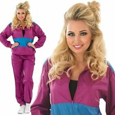 New Adult Ladies 80s 90s Retro Shell Suit Tracksuit Scouser Fancy Dress Costume