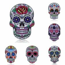 Women Charm Fashion Colorful Printing Flower Skull Head Brooch Pin Jewelry Gift