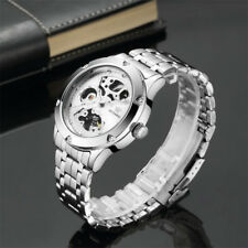 New Silver Skeleton Analog Mechanical Automatic Men's Wrist Steel Band Watch TR
