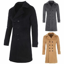 Fashion Mens Coat Wool Blends Trench Winter Long Jacket Double Breasted Overcoat