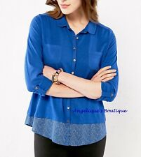 WHITE STUFF BOTANICAL COBALT BLUE JERSEY DOTTY HEM SHIRT TOP SZ 6-18 NEW SECOND