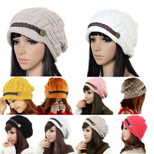 Knit Womens Winter Knitted Hat Stretch Baggy Warm Ear Crimping Beanie Ski Cap