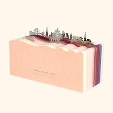 Cityscape Notepad with Metal Bookmarks with colored paper, Blank Cute notepad