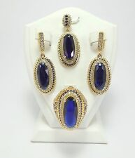 Handcraft 925 Sterling Silver Turkish Jewelry / Blue Sapphire Ladie's Set