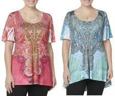 Simply Emma Womens Plus Sublimation Embellished Top Floral Paisley size 1X NEW