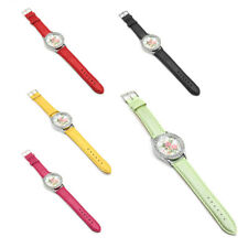 Womens Quartz Wristwatch PU Leather Strap Rhinestone Silver Round Dial Watch