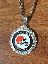 STERLING SILVER ROPE PENDANT W/ NFL CLEVELAND BROWNS b SETTING JEWELRY GIFT