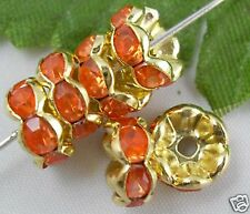 Free Ship 100pcs lacy crystal Gold spacer bead 8mm