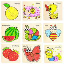 3D Cartoon Fruit Animal Wooden Blocks Jigsaw Puzzle Education Toys For Baby Kids