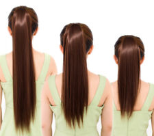 Long Straight Ponytail Clip-in Wrap On Hair Extensions Hairpiece Woman C8