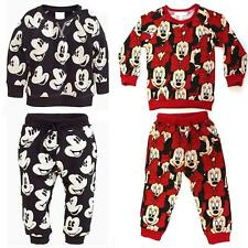 Kids Boys Girls Mickey Minnie Mouse Jumper Trousers Set Clothes Top Bottom