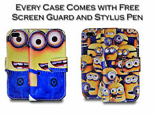 Despicable Me Minion PU Leather Stand Wallet Case Cover For Apple iPhone 4G 4S