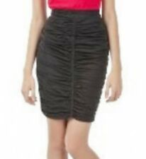 ZAC POSEN SKIRT Ruched Pencil with Back Zipper Detail BLACK Stretch Body Hugging