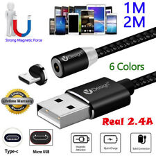 1M 2M 3in1 Braided Magnetic Plug Round Magnet Charger Cable for Micro USB Type C