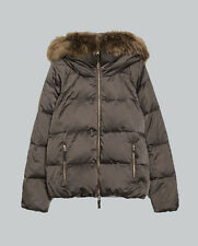 NWT AUTHENTIC ZARA Down Jacket With Hood & Fur Collar BLUE/GREEN 4432/243 XS S