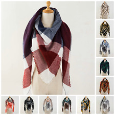 Women Long Blanket Oversized Tartan Scarf Winter Pashmina Cashmere Shawl Wrap