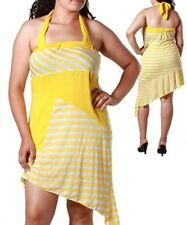 Sunny Yellow white striped Beach Vacation Summer sundress Halter dress  1X 2X 3X