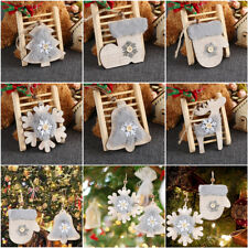 Christmas Tree Ornament Plush&Wood Tag DIY Crafts Deer Bell gifts Embellishment