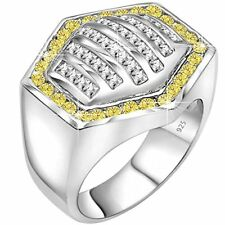 Men's Sterling Silver .925 Hexagonal Ring 64 White and Canary Yellow CZ Stones