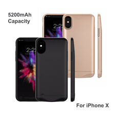 For Apple iPhone X 5200mAh Battery Cover Case External Backup Power Bank Charger