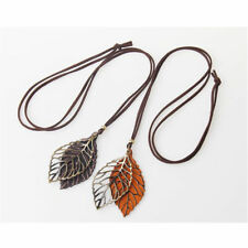 Fashion Jewelry Women Long Chain Sweater Necklaces Hollow Double Leaves Pendant