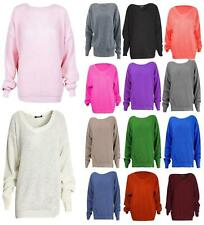 Womens Long Sleeve Chunky Thick Jumper Ladies knitted Baggy Sweater Oversized Pl