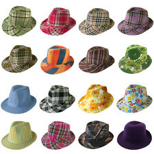 Women Men Stylish Plaid Solid Stripe Floral Pattern Trilby Fedora Unisex Hat