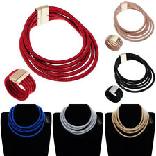 Fashion Rope Chain Magnetic Choker Chunky Statement Bib Necklace Bracelet Sets