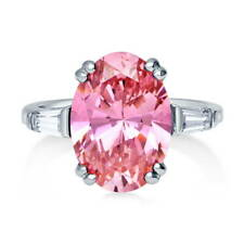 BERRICLE Silver Oval Pink Cubic Zirconia CZ 3-Stone Engagement Ring 6.05 Carat