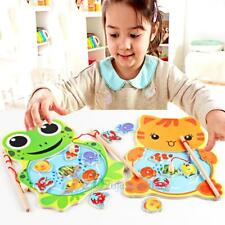Baby Kids Magnetic Fishing Game Board Wooden Jigsaw Puzzle Educational Toys Gift