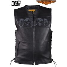 Mens Leather Motorcycle Vest With Reflective Skulls & Conceal Pockets