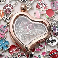 Living Memory Floating Charm Crystal Glass Round Heart Locket Pendant Necklace