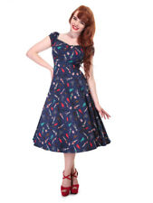 COLLECTIF VINTAGE DOLORES DOLL FLARED DRESS SZ 8 - 22 PAPER PIN-UP