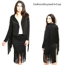 Haute BOHO Western Hippie Black Ponte Gypsy Fringed Moto Biker Skirt Jacket Set