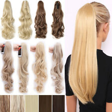 Long Real Ponytail Clip In Hair Extension Ombre Mix Claw On Fake Hai Blonde P23