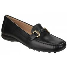 GEOX EURO Ladies Womens Soft Leather Rubber Grip Comfort Moccasin Shoes Black