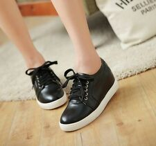 Stylish Hidden Wedge Lace Up Womens Sneakers Athletic Shoes Board Shoes Size 080