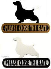 Springer Spaniel Please Close The Gate Silhouette Dog Plaque - House Garden