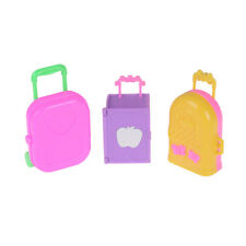 Cute Plastic Rolling Suitcase Luggage Box for Barbie Doll Travel Accessories US