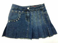 Girls Ex-Chain Store Blue Denim Pleated Skirt with Stud Detail