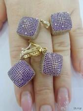 STERLING 925 SILVER JEWELRY HANDMADE FABULOUS MICRO-PAVE AMETHYST FULL SETS